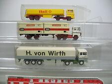 AI712-0,5# 3x Wiking H0 Sattelzug Ford: H. von Wirth+Shell+DB/Bundesbahn
