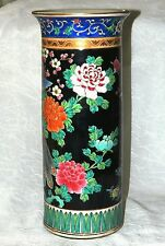 """Old Estate HAND PAINTED Scarce CHINESE FAMILLE NOIRE HAT STAND Gold Accents 13 """""""