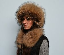 Genuine Norwegian Raccoon Fur Women's Set Of Cossacks Style Hat & Collar Scarf