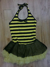 Death Kitty/ Bumble bee tutu dress/ Black/ Yellow/ Size S/M - 452