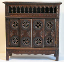 VINTAGE FRENCH MAHOGANY MINIATURE BRITTANY CABINET SPINDLES AND INCISED CARVING