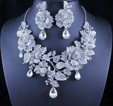 ROSE CLEAR AUSTRIAN RHINESTONE NECKLACE EARRINGS SET SILVER PROM WEDDING N11902C