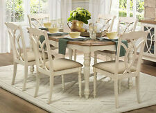 NEW 7PC HARTLEY ANTIQUE WHITE RUSTIC OAK FINISH WOOD DINING TABLE SET w/ CHAIRS