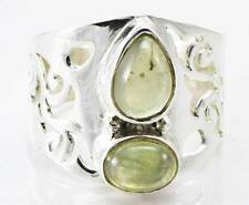 NATURAL PREHNITE GEMSTONE RING SOLID 925 SILVER JEWELRY SIZE 8.5 IR14849