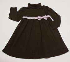 GYMBOREE GIRLS SIZE 5 DRESS SWEETER THAN CHOCOLATE BROWN PINK POLKA DOTS BOW