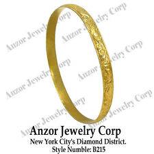14k Gold Moroccan Arabian Style Wide Slip-on Engraved Leaf Pattern Bangle #B215
