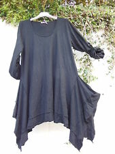 "QUIRKY ASYMMETRICAL TUNIC TOP BLACK 36"" - 40"" BUST BNWT LAGENLOOK ETHNIC BOHO"