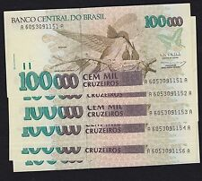 Lot of 7 Consecutive Brazil 100000 Cruzeiros Banknotes - 1993 Pick 235b - UNC's
