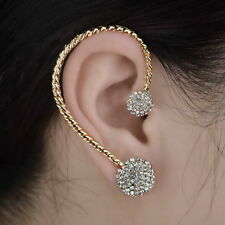 Gothic Gold Plated Fancy Rhinestone Ear Cuff Stud Clip Earring Wrap Jewelry
