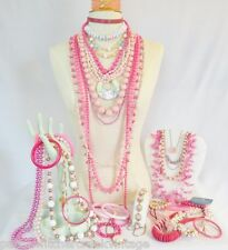 Vintage Costume Jewelry Lot-PRETTY in PINKS-Necklaces Beaded Bracelets-40PC
