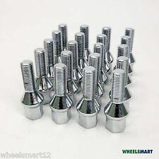 16x 14x1.5 Wheel Bolts 17mm 28mm & 4x 14x1.5 Lock Bolts +Key Combo Chrome