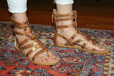 GUESS FALNA STUDDED MED BROWN LEATHER GLADIATOR SANDALS SZ 9M