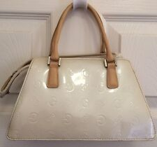 GUESS Purse Hand Bag White Cream Beige Tan Shiny Zippered Elegant