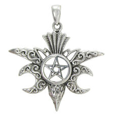 Sterling Silver Moon Raven Pentacle Pendant Jewelry Crow Pentagram Jewelry
