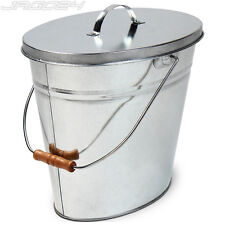 Oval Ash Bucket Bin Coal Pellet Log Storage Trash Carrier 14 Litres Lid Handle