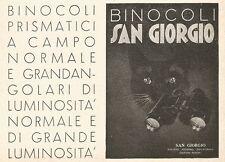 W2888 Binocoli San Giorgio - Illustrazione gatto - Pubblicità del 1937 - Old ad