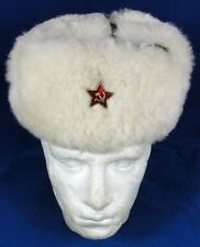Genuine Russian Army Sheepskin Fur Ushanka Winter Hat, Size 56 Small/Medium