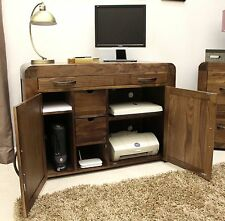 Shiro solid walnut dark wood furniture hidden home office PC computer desk