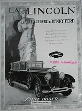 PUBLICITE AUTOMOBILE LINCOLN CHEF D'OEUVRE HENRY FORD DE 1929 FRENCH AD LEVRIER