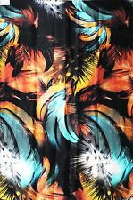 "100% PURE SILK CHARMEUSE WILD FEATHER DIGITAL PRINT FABRIC 56"" DRESS BY THE YARD"