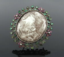 Antique 7.0ct Emerald Ruby & Natural Pearl Painted Porcelain Silver Brooch