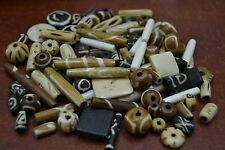 1000+ PCS ASSORT ROUND TUBE CARVED BUFFALO BONE BEADING BEADS 2 LBS #T-495