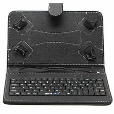 """New Micro USB 7"""" PU Leather Keyboard Stand Case Cover for Tablet PC Black Gift"""