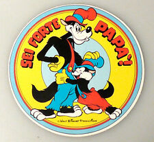 (PRL) ADESIVO WALT DISNEY SEI FORTE PAPA' LUPO LUPETTO 1980 COLLECTION STICKER