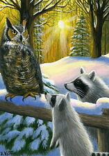 Raccoons great horned owl winter snow sunlight limited edition aceo print art