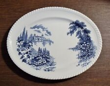 """Johnson Brothers CASTLE ON THE LAKE BLUE 12-1/4"""" Oval Platter EXCELLENT"""