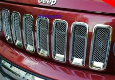 For JEEP PATRIOT 11-15 CHROME FRONT MESH GRILLE VENT HOLE FRAME TRIM COVER