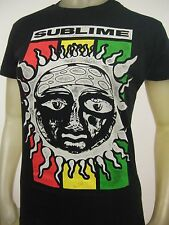 NWT JUNIORS SMALL BLACK SUBLIME SUN FACE SUNWAVE BAND GRAPHIC FITTED TEE SHIRT S