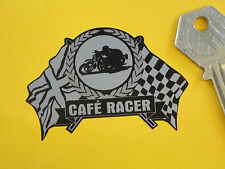 CAFE RACER Flag & Scroll Style 65mm Bike Sticker Black & Silver Rocker Bikers
