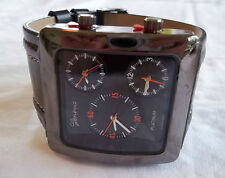 NEW Mens Geneva Chronograph Orange/Leather/Pewter Dual Dial Watch +Free Battery