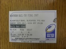 15/07/2007 Ticket: Rugby League - National League Cup Final - Widnes v Whitehave