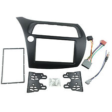 Double 2 Din Stereo Panel For Honda Civic Dash Trim Kit Fascia + Harness Antenna
