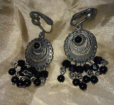 Boucle D'oreille vintage bijou ancien   Perle Noir Earring