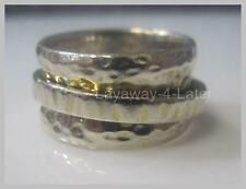 SILPADA .925 Sterling Silver Hammered Spinner Worry Cuff Ring R1476 Size 6 HTF