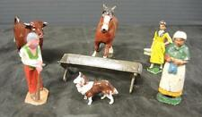 7 Piece Lot Lead Farm Figures * Draft Horse * Cow * People * Water Trough * Dog
