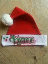Santa Hat Personalized Christmas Holiday Monogram Airbrush Custom with YOUR Name