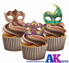 Masquerade Ball Vintage Sexy Colourful Masks 12 Edible Stand Up Cup Cake Toppers