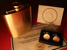 24ct Gold Plated Bells Scotch Whisky Hipflask Cufflinks Set Christmas Gift 24k
