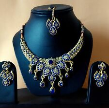 Indian Tradition Kundan Blue color Set Necklace and Earrings Gold Plated set.