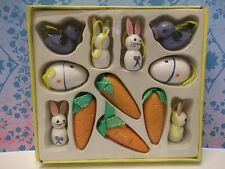 12 VTG.EASTER WOODEN BUNNIES,CARROT,EGG ORNAMENTS~EASTER TREE DECORATIONS~iob