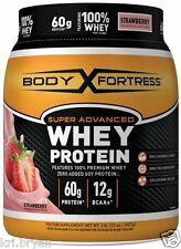 NEW BODY FORTRESS SUPER ADVANCED WHEY PROTEIN POWDER STRAWBERRY 2LB FREE 2 DAY