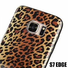 For Samsung Galaxy S7 Edge - Hard Gummy Rubber Case Cover Brown Leopard Cheetah