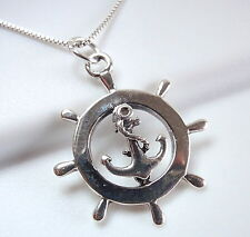 Boat Steering Wheel and Anchor Pendant 925 Sterling Silver Corona Sun Jewelry