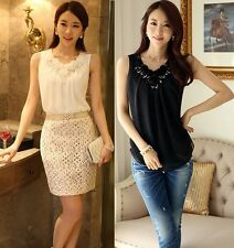 White Sequin Sleeveless Tank Top / Blouse,  Bling Elegant Classy Floral Lace M