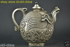 China Collectible Decor Art Old Tibet Silver Royal Phoenix Rattan Noble Teapot
