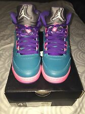 NIKE AIR JORDAN 5 RETRO GS TROPICAL TEAL PINK SIZE 4.5Y VNDS RETRO 5 WORN 2X